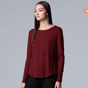Simply Vera Vera Wang Floral Lace Tee Scarlet Red